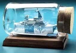 yacht sculpture ship in a bottle