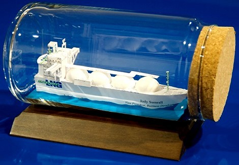 LNG ship made from business cards
